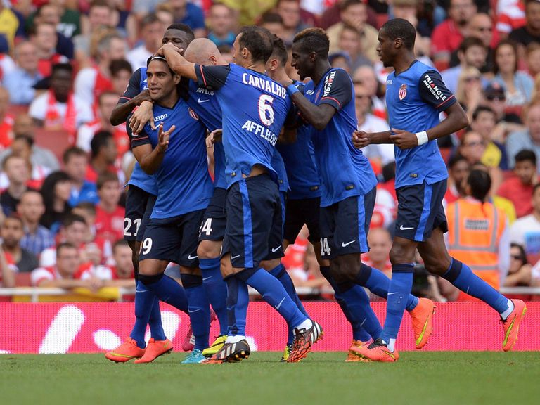 Monaca Radamel Falcao celebrates after scoring with a free header
