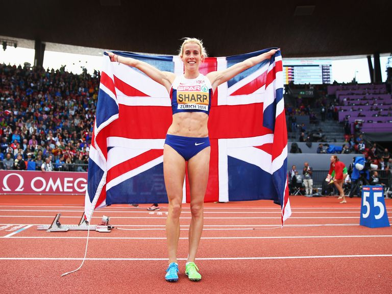 Lynsey Sharp: Celebrates her silver medal at the European Championships