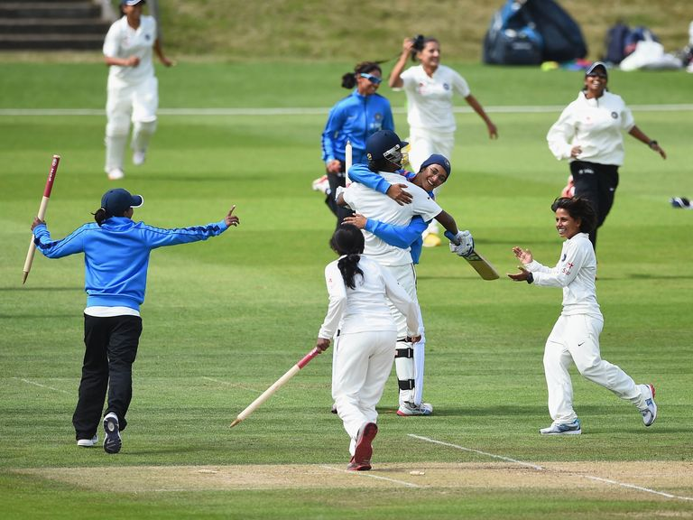 India's women celebrate their win