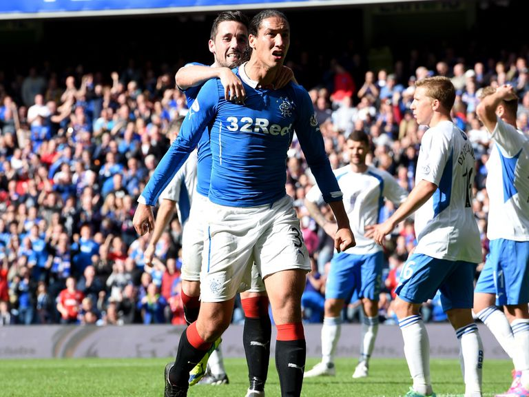Rangers defender Bilel Mohsni celebrates his goal