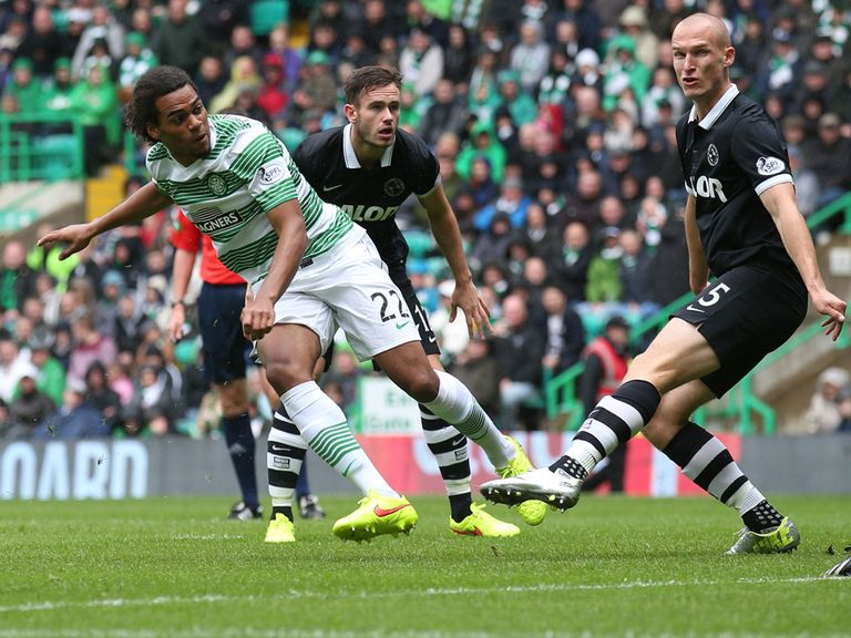 Celtic's Jason Denayer scores the opening goal of the game