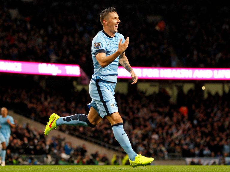 Stevan Jovetic celebrates the first of his two goals