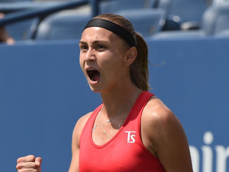 Aleksandra Krunic of Serbia celebrates