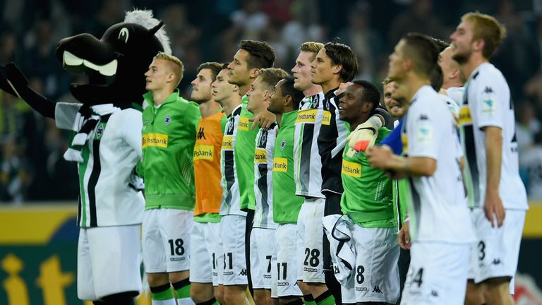 Borussia Monchengladbach celebrate victory over Schalke