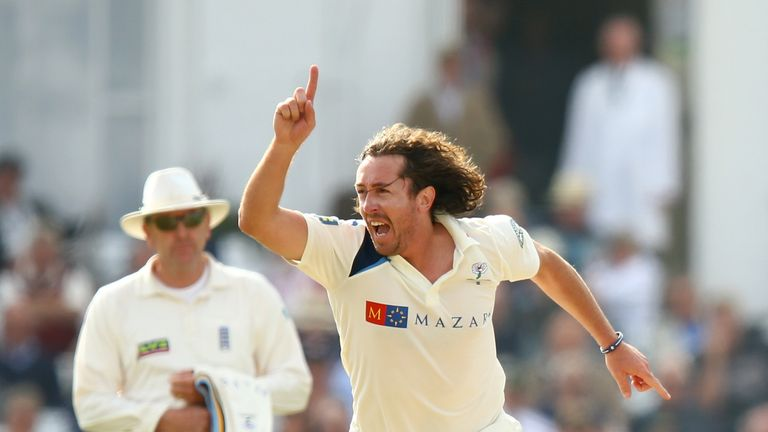 Ryan Sidebottom of Yorkshire celebrates taking the wicket of Riki Wessels of Nottinghamshire during the third day at Trent Bridge