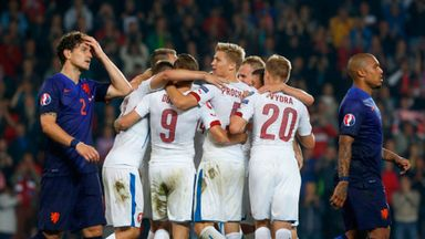 The Czech Republic players celebrate after their late winner in Prague
