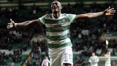 Amido Balde celebrates one of his rare goals for Celtic last season