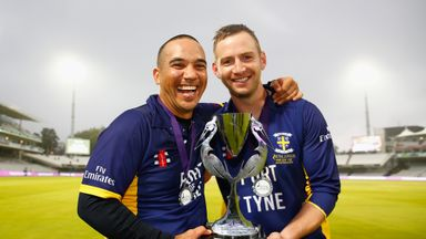 Gareth Breese and Mark Stoneman celebrate with the Royal London One-Day trophy