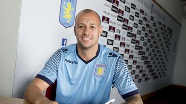 BIRMINGHAM, ENGLAND - SEPTEMBER 16: (EXCLUSIVE COVERAGE)  Alan Hutton of Aston Villa poses for a picture after signing a new contract at Aston Villa