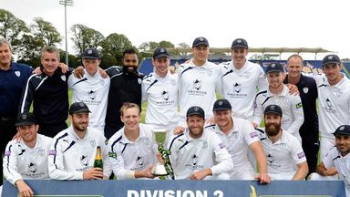 Hampshire celebrate their Division Two title success