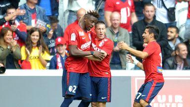 Divock Origi: Celebrates his goal against Nantes