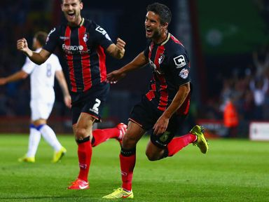 Andrew Surman celebrates after putting Bournemouth a goal to the good