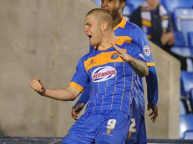 Shrewsbury Town's James Collins celebrates