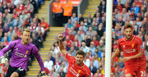 Liverpool: Look on as Gabriel Agbonlahor scores