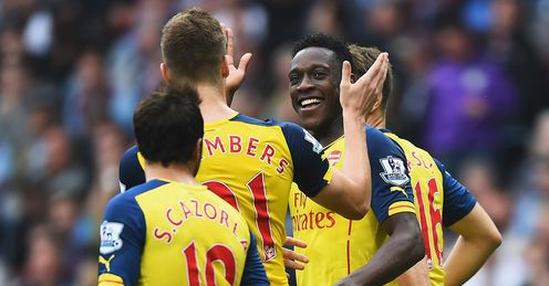 Danny Welbeck: Celebrates his first goal for Arsenal