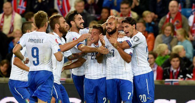 Simone Zaza: Italy forward celebrates after finding the net against Norway
