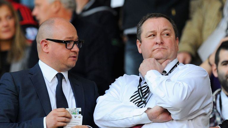 Newcastle owner Mike Ashley (R) with managing director Lee Charnley (L)