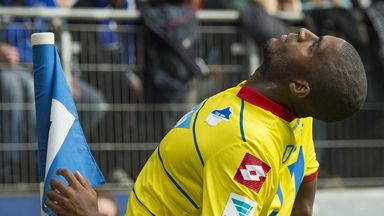 Hoffenheim's Anthony Modeste celebrates his goal