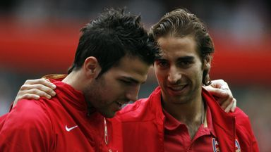 Former Arsenal team-mates Mathieu Flamini and Cesc Fabregas.
