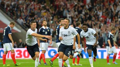 Rickie Lambert celebrates winning goal against Scotland at Wembley in 2013