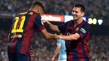 Lionel Messi: Celebrates with Barcelona team-mate Neymar