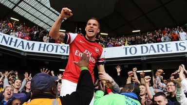 Lukas Podolski: Celebrates last season's win at White Hart Lane