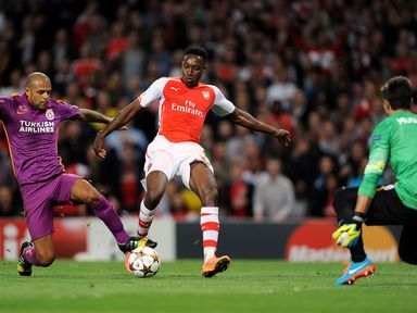 Arsenal's Danny Welbeck scores his first goal against Galatasaray