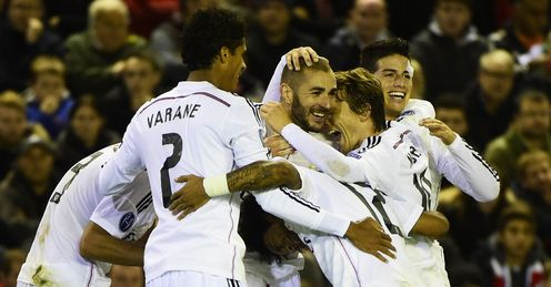 Karim Benzema: Celebrates his second goal