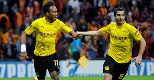 Pierre-Emerick Aubameyang: Celebrates his goal for Dortmund