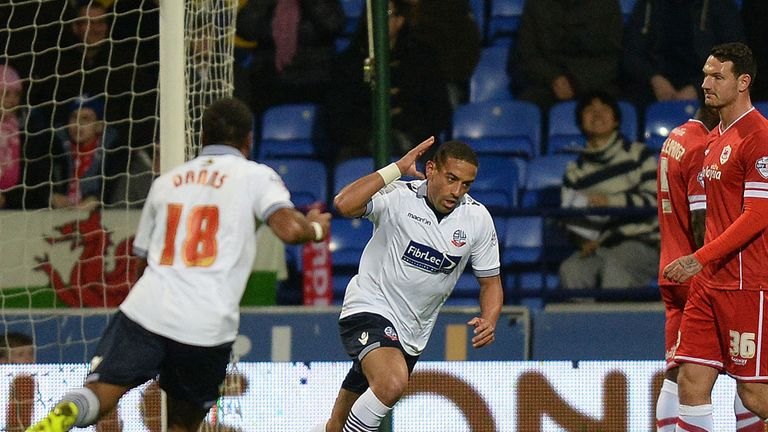 Liam Feeney: Celebrates scoring against Cardiff