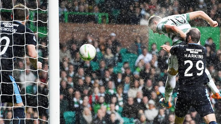 Tony Stokes scores the first Celtic goal against Dundee