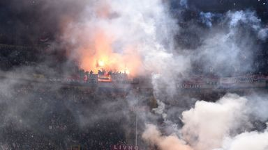 Crowd disturbances in Milan during the game between Italy and Croatia
