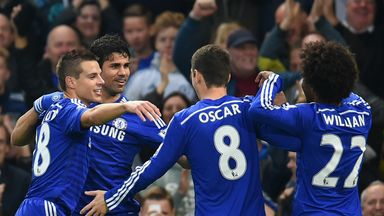Diego Costa  celebrates with his Chelsea team-mates
