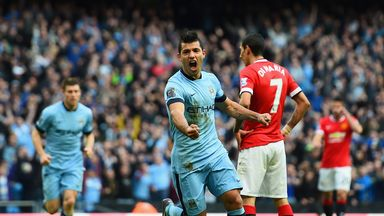 Sergio Aguero: Celebrates after scoring the winning goal against Manchester United