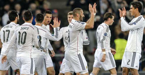 Cristiano Ronaldo: Celebrates his goal with Real Madrid team-mates