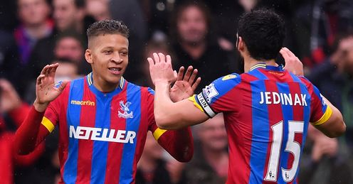 Dwight Gayle and Mile Jedinak: Both on target against Liverpool