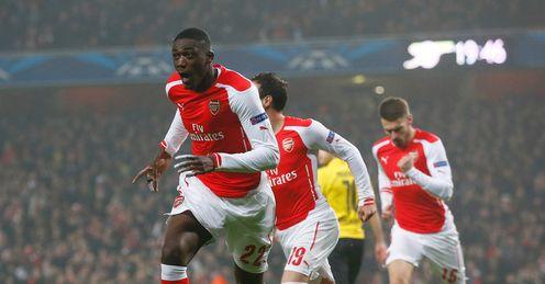 Yaya Sanogo: Celebrates opening the scoring for Arsenal