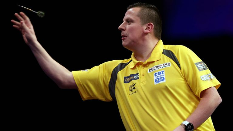 Dave Chisnall in action during his first round match against Ryan de Vreede