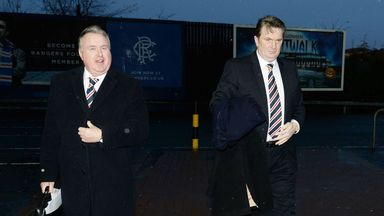 Rangers Chairman David Somers and shareholder Sandy Easdale arrive at Ibrox
