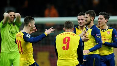 Aaron  Ramsey: Celebrating THAT goal against Galatasary