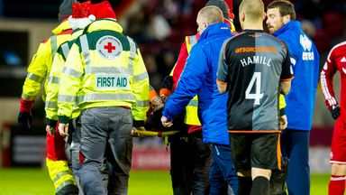 Kilmarnock's Darryl Westlake is carried off at Pittodrie on Saturday