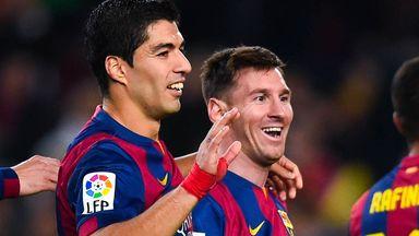 Suarez: Celebrates goal with Messi