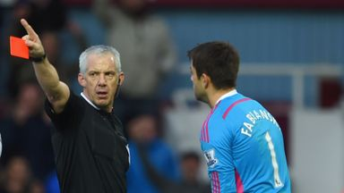 Lukasz Fabianski: Sent off by referee Chris Foy at Upton Park