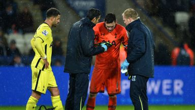 Hugo Lloris: Receives treatment following a collision with Jamie Vardy
