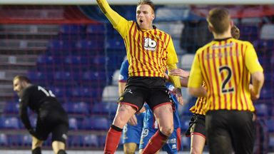 Ryan Stevenson jumps for joy after scoring his second goal at Inverness on Saturday