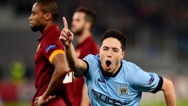 Samir Nasri: Manchester City midfielder opened the scoring with a stunning strike against Roma.
