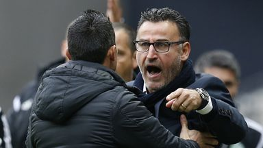 St Etienne coach Christophe Galtier shows some anger