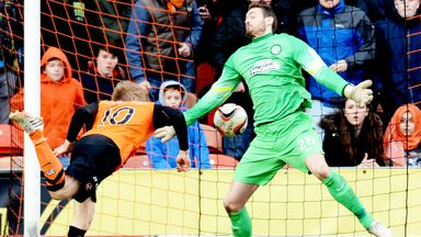 Stuart Armstrong scores the decisive goal as Dundee United beat Celtic in December 2014
