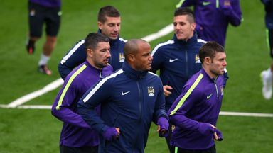 Vincent Kompany (C): Back in training ahead of Roma game