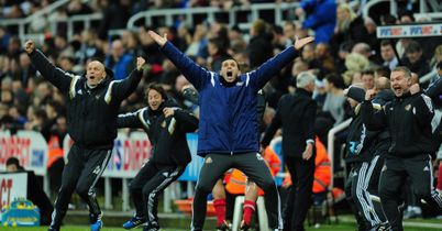 Gus Poyet: Celebrates two of his players making the Team of the Week